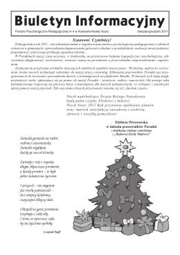 Biuletyn Informacyjny - Poradnia Psychologiczno
