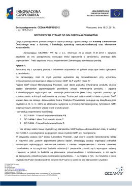 odpowiedzi na pytania do ogłoszenia 18. 01.2013