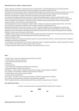 Deklaracja uczestnictwa w zajęciach z Wychowania do życia w