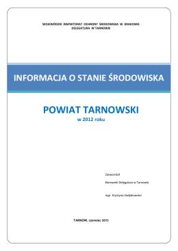 Informacja o stanie środowiska w powiecie tarnowskim w 2012 roku