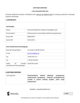 Zapytanie ofertowe - Poznański Akademicki Inkubator