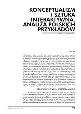 konceptualizm i sztuka interaktywna. analiza polskich przykładów