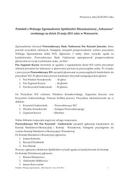 zwołanego na dzień 25 maja 2011 roku w Warszawie.