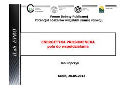 Energetyka prosumkencka - pole do współdziałania