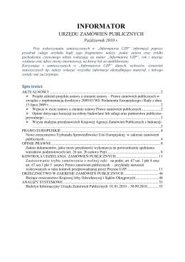 Informator Urzędu Zamówień Publicznych nr 10/2010