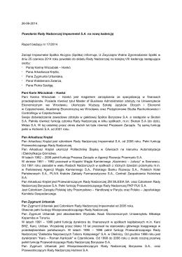 26-06-2014 Powołanie Rady Nadzorczej Impexmetal S.A. na nową