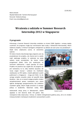 Relacja z Summer Research Internship Singapur