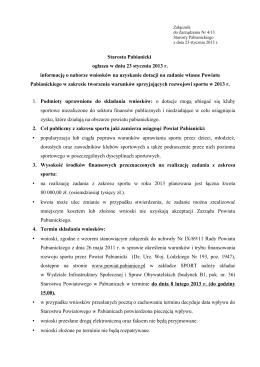 Informacja o naborze wniosków na uzyskanie