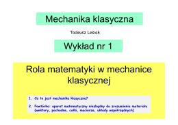 Mechanika (klasyczna MK)