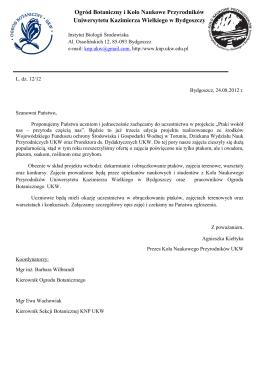 Oferta do pobrania - Koło Naukowe Przyrodników UKW w Bydgoszczy