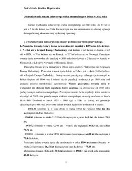 Uwarunkowania zmiany ustawowego wieku emerytalnego w Polsce