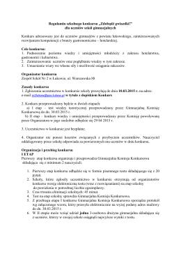 Regulamin szkolnego konkursu - Zespół Szkół nr 2 im. Aleksandra