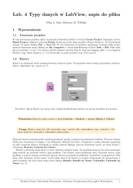 Lab. 4 Typy danych w LabView, zapis do pliku