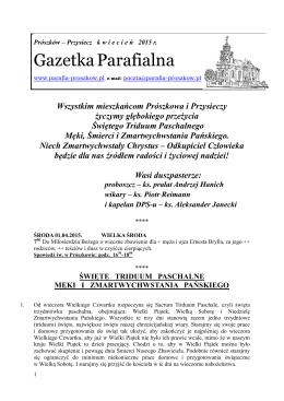 Przysiecz kwiecień 2015 - Parafia pod wezwaniem św. Jerzego w