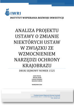 analiza projektu ustawy o zmianie niektórych ustaw w