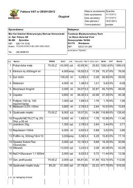 Faktura VAT nr 293/01/2012 Oryginał 1 Pobyt doba mały 29,82 1385