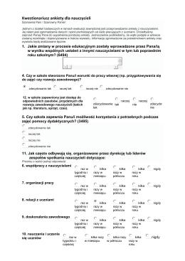 Kwestionariusz ankiety dla nauczycieli