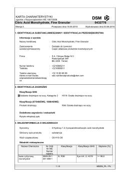 Citric Acid Monohydrate, Fine Granular 0432776