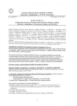 Kritériá prijímacieho konania do SOŠ obchodu a služieb
