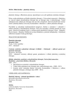 Stiahnuť CV v PDF - MUDr. Miloš Križko