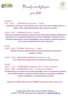 Ponuka workshopov pre vaše deti v Park Hoteli Intenzíva