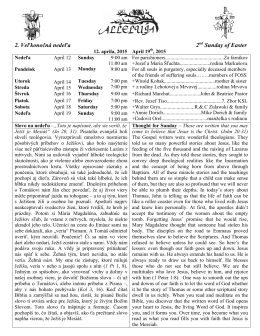 Najnovší bulletin - Sts. Cyril and Methodius Parish