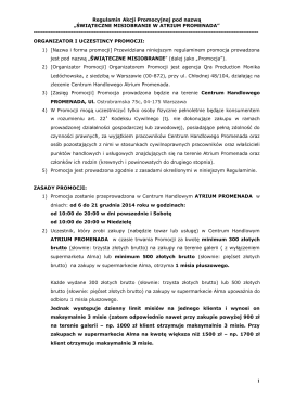 Regulamin Akcji Promocyjnej pod nazwą