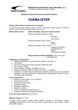 VOZMAJSTER - ZSSK Cargo