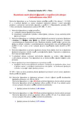 Kritériá - prospechové 2015