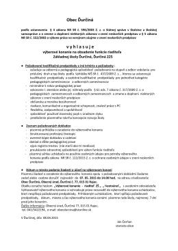 Výberové konanie na obsadenie funkcie riaditeľa Zš Ďurčiná