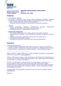 voľná pracovná pozícia : Manažér zákazníckeho centra Žilina