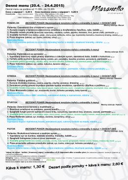 Denné menu (20.4. – 24 24.4.2015)