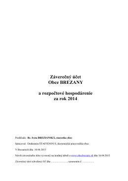 Záverečný účet Obce Brezany za rok 2014