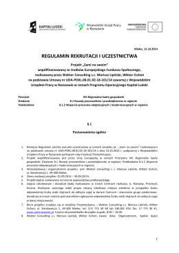 Regulamin rekrutacji i uczestnictwa v.15.10.2014 r.