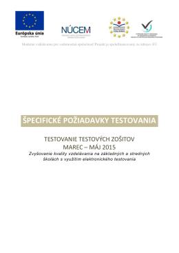 Špecifické požiadavky testovania - testových zošitov marec - E-test