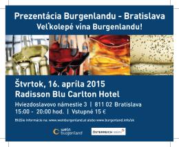 Prezentácia Burgenlandu - Bratislava