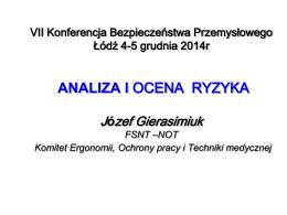 Analiza i ocena ryzyka, Józef Gierasimiuk, FSNT