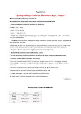 "Regulamin Ogólnopolskiego Konkursu Matematycznego ""Pangea"""