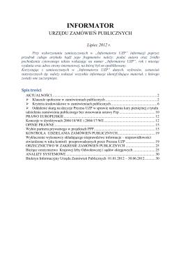 Informator Urzędu Zamówień Publicznych nr 7/2012