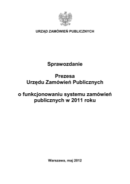 Sprawozdanie Urzędu Zamówień Publicznych za 2011 r.