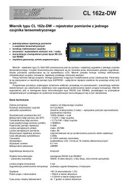 Miernik typu CL 162z-DW – rejestrator pomiarów z jednego czujnika
