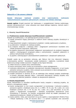 Załącznik nr 2 do umowy o dotację Zasady dotyczące realizacji