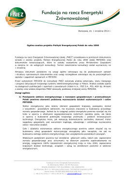 Warszawa, dn. 1 września 2014 r. Ogólna analiza projektu