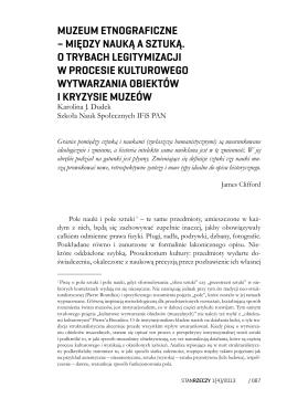 muzeum etnograficzne – między nauką a sztuką. o