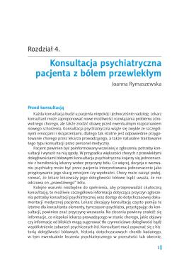 Konsultacja psychiatryczna pacjenta z bólem przewlekłym