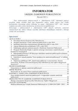 Informator Urzędu Zamówień Publicznych nr 1/2011