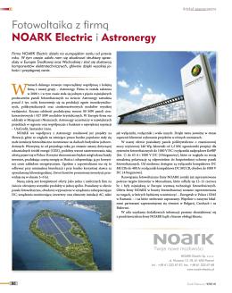 Fotowoltaika z firmą NOARK Electric i Astronergy