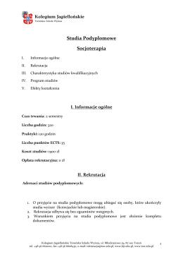 Socjoterapia - Kolegium Jagiellońskie Toruńska Szkoła Wyższa