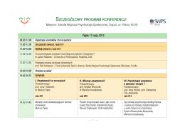 program - I Międzynarodowa Konferencja Psychologii Pozytywnej w