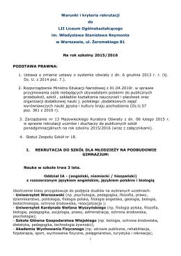 Warunki i kryteria rekrutacji